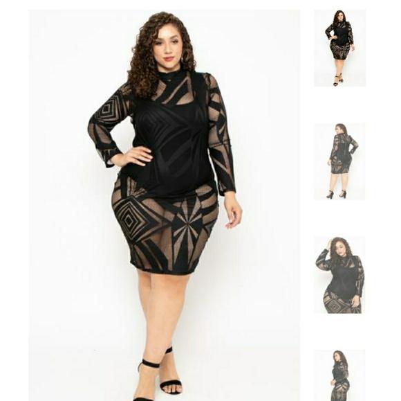 Plus Size Mesh Burn Out Bodycon Dress NWT
